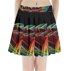 Dancing Northern Lights, Abstract Summer Sky  Pleated Mini Skirt