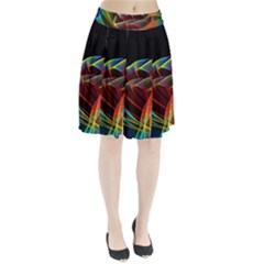 Dancing Northern Lights, Abstract Summer Sky  Pleated Skirt