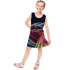 Dancing Northern Lights, Abstract Summer Sky  Kids  Tunic Dress