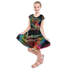 Dancing Northern Lights, Abstract Summer Sky  Kids  Short Sleeve Dress