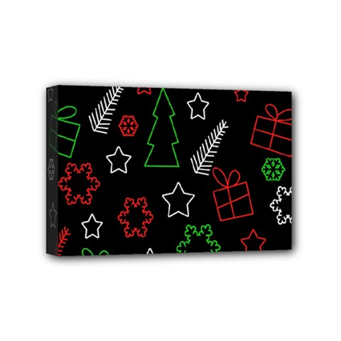 Green and  red Xmas pattern Mini Canvas 6  x 4