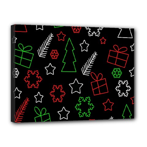 Green and  red Xmas pattern Canvas 16  x 12