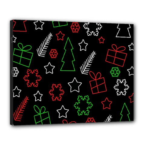 Green and  red Xmas pattern Canvas 20  x 16