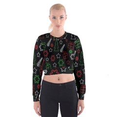 Green and  red Xmas pattern Women s Cropped Sweatshirt