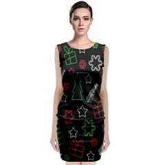 Green And  Red Xmas Pattern Classic Sleeveless Midi Dress