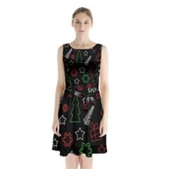 Green and  red Xmas pattern Sleeveless Chiffon Waist Tie Dress