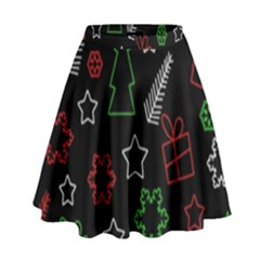 Green and  red Xmas pattern High Waist Skirt