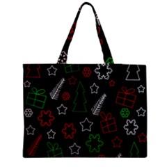 Green And  Red Xmas Pattern Medium Tote Bag