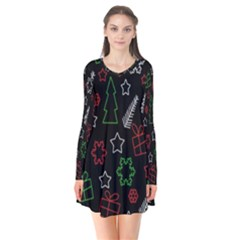 Green and  red Xmas pattern Flare Dress