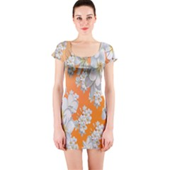 Flowers Background Backdrop Floral Short Sleeve Bodycon Dress