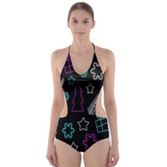 Creative Xmas pattern Cut-Out One Piece Swimsuit