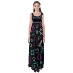 Creative Xmas pattern Empire Waist Maxi Dress