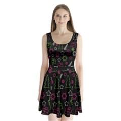 Elegant Xmas pattern Split Back Mini Dress