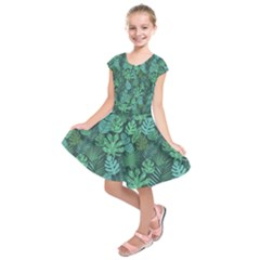 Tropical Plantation Pattern2 Kids  Short Sleeve Dress