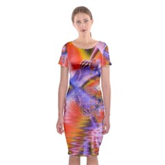 Crystal Star Dance, Abstract Purple Orange Classic Short Sleeve Midi Dress