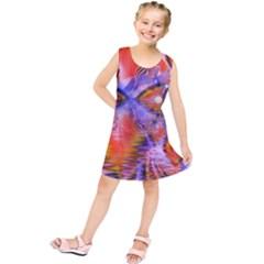 Crystal Star Dance, Abstract Purple Orange Kids  Tunic Dress