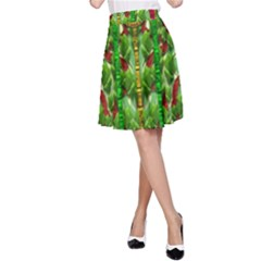 The Golden Moon Over The Holiday Forest A Line Skirt