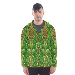 The Golden Moon Over The Holiday Forest Hooded Wind Breaker (men)