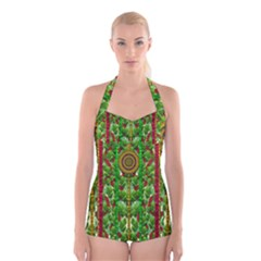The Golden Moon Over The Holiday Forest Boyleg Halter Swimsuit