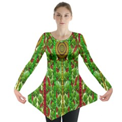 The Golden Moon Over The Holiday Forest Long Sleeve Tunic
