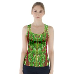 The Golden Moon Over The Holiday Forest Racer Back Sports Top