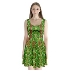 The Golden Moon Over The Holiday Forest Split Back Mini Dress