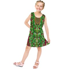 The Golden Moon Over The Holiday Forest Kids  Tunic Dress