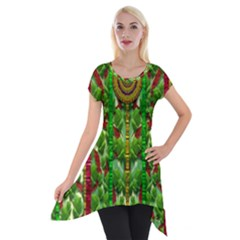 The Golden Moon Over The Holiday Forest Short Sleeve Side Drop Tunic