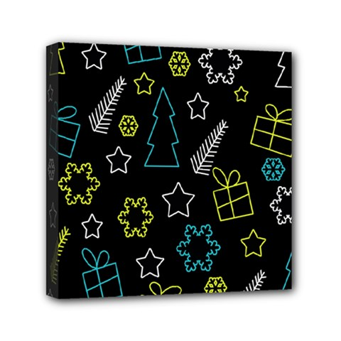 Xmas pattern - Blue and yellow Mini Canvas 6  x 6