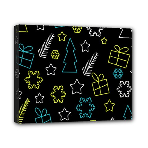 Xmas pattern - Blue and yellow Canvas 10  x 8