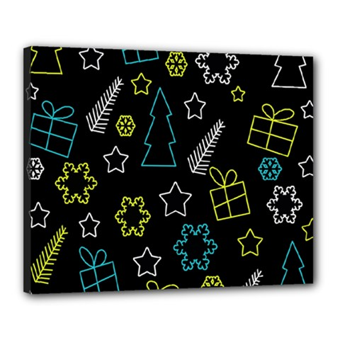 Xmas pattern - Blue and yellow Canvas 20  x 16