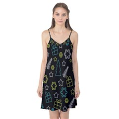 Xmas pattern - Blue and yellow Camis Nightgown