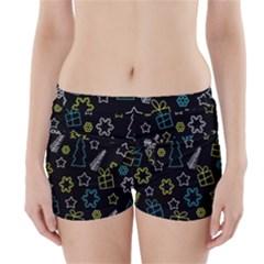 Xmas Pattern   Blue And Yellow Boyleg Bikini Wrap Bottoms