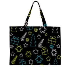 Xmas pattern - Blue and yellow Zipper Large Tote Bag