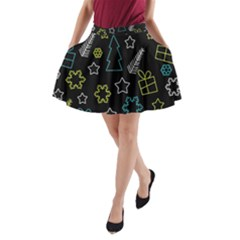 Xmas pattern - Blue and yellow A-Line Pocket Skirt
