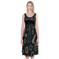 Xmas pattern - Blue and yellow Midi Sleeveless Dress