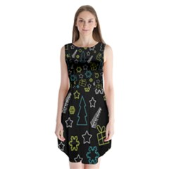 Xmas pattern - Blue and yellow Sleeveless Chiffon Dress