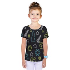 Xmas Pattern   Blue And Yellow Kids  One Piece Tee