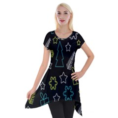 Xmas Pattern   Blue And Yellow Short Sleeve Side Drop Tunic
