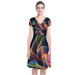 Crystal Rainbow, Abstract Winds Of Love  Short Sleeve Front Wrap Dress