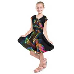 Crystal Rainbow, Abstract Winds Of Love  Kids  Short Sleeve Dress