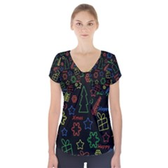 Playful Xmas pattern Short Sleeve Front Detail Top