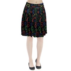 Playful Xmas Pattern Pleated Skirt