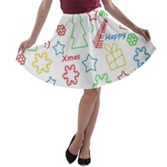 Simple Christmas pattern A-line Skater Skirt