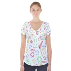 Simple Christmas pattern Short Sleeve Front Detail Top