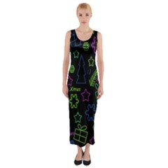 Decorative Xmas pattern Fitted Maxi Dress