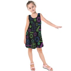 Decorative Xmas Pattern Kids  Sleeveless Dress