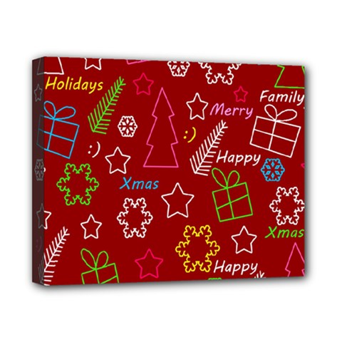 Red Xmas pattern Canvas 10  x 8