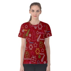 Red Xmas Pattern Women s Cotton Tee