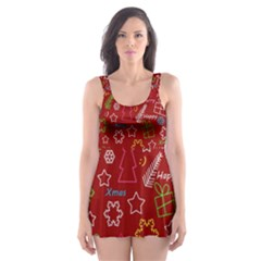 Red Xmas Pattern Skater Dress Swimsuit